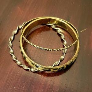 Set of 3 bangle bracelets- animal print goldtone